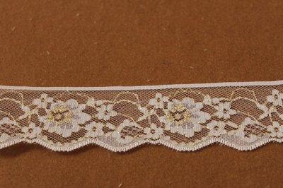 画像2: 5m!4.4cm小花柄ラッセルレース 金ラメ/ホワイト