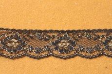 画像2: ラッセルレース 金色ラメ/黒 5m!3.4cm花柄 (2)