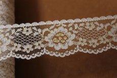 画像5: 5m!3.4cm花柄ラッセルレース 金ラメ/ホワイト (5)