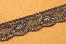 画像5: ラッセルレース 金色ラメ/黒 5m!3.4cm花柄 (5)