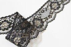 画像7: ラッセルレース 金色ラメ/黒 5m!3.4cm花柄 (7)
