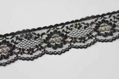 画像2: 5m!3.4cm花柄ラッセルレース 金色ラメ/黒