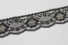 画像6: ラッセルレース 金色ラメ/黒 5m!3.4cm花柄 (6)