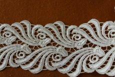 画像3: 1m!幅8.1cmウエディングドレスにも豪華なケミカルレース オフホワイト (3)