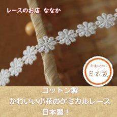 画像1: 3m!幅1.1cm小花柄綿ケミカルレース オフホワイト (1)