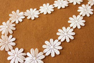 画像3: 24枚巻!幅3.6cmコットンの花柄ケミカルレース オフホワイト