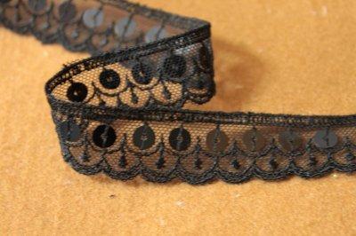 画像3: 幅2.2cmスパンコール付きチュールレース 黒 オートクチュール
