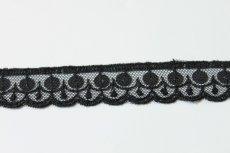 画像5: 幅2.2cmスパンコール付きチュールレース 黒 オートクチュール (5)
