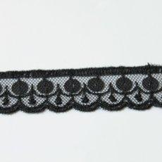 画像2: 50cm!幅2.2cmスパンコール付きチュールレース 黒 オートクチュール (2)