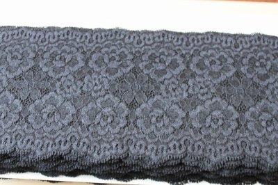 画像3: 5m!幅12.5cm美しい薔薇柄ラッセルストレッチレース 黒
