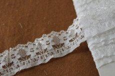 画像4: ラッセルフリルレース オフホワイト 5m!2.7cm小花柄 日本製 (4)