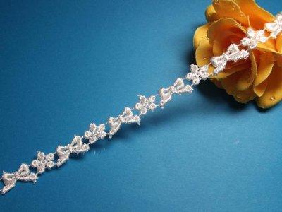 画像2: リボンと小花柄ケミカルレース ホワイト  幅1cm 3m巻