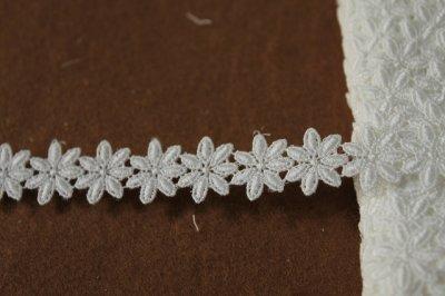 画像2: 3m!幅1.9cm可愛い小花柄綿ケミカルレース オフホワイト