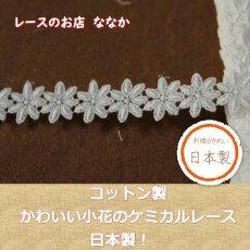 画像1: 3m!幅1.9cm可愛い小花柄綿ケミカルレース オフホワイト (1)