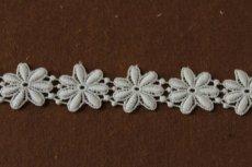 画像4: 1m!幅2.5cm綺麗な花柄綿ケミカルレース オフホワイト (4)