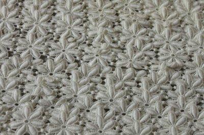 画像3: 1m!幅2.5cm綺麗な花柄綿ケミカルレース オフホワイト
