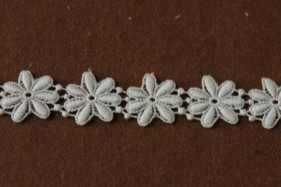 画像2: 1m!幅2.5cm綺麗な花柄綿ケミカルレース オフホワイト