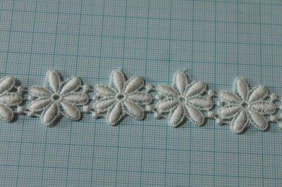 画像1: 1m!幅2.5cm綺麗な花柄綿ケミカルレース オフホワイト