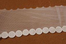 画像2: 6m!幅7.8cmサークル柄の綺麗なチュールレース ホワイト (2)