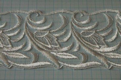 画像1: 3m!幅7.8cm光沢のある花柄チュールレース オフホワイト