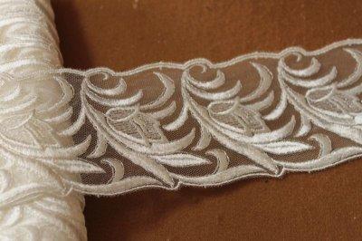 画像3: 3m!幅7.8cm光沢のある花柄チュールレース オフホワイト