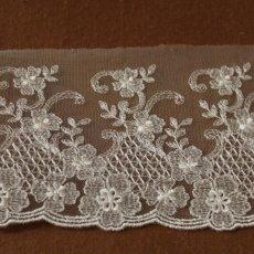 画像2: 3m!幅10.5cm繊細な花柄刺繍のチュールレース オフホワイト (2)