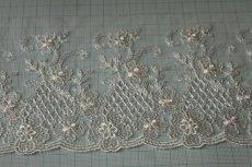 画像4: 3m!幅10.5cm繊細な花柄刺繍のチュールレース オフホワイト (4)