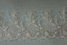 画像3: 3m!幅10.5cm繊細な花柄刺繍のチュールレース オフホワイト (3)