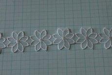 画像3: 6m!幅2.7cm透け感が可愛いお花のナイロンシャー刺繍レース ホワイト  (3)