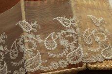 画像5: 3m!幅15.5cm繊細な刺繍のペーズリー柄チュールレース オフホワイト (5)