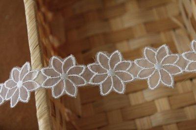 画像2: 6m!幅2.7cm透け感が可愛いお花のナイロンシャー刺繍レース ホワイト