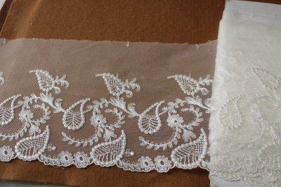 画像2: 3m!幅15.5cm繊細な刺繍のペーズリー柄チュールレース オフホワイト