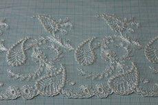画像3: 3m!幅15.5cm繊細な刺繍のペーズリー柄チュールレース オフホワイト (3)