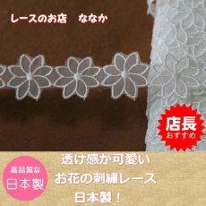 画像1: 6m!幅2.7cm透け感が可愛いお花のナイロンシャー刺繍レース ホワイト  (1)
