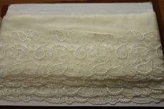 画像7: 3m!幅15.5cm繊細な刺繍のペーズリー柄チュールレース オフホワイト (7)
