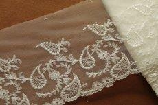 画像6: 3m!幅15.5cm繊細な刺繍のペーズリー柄チュールレース オフホワイト (6)