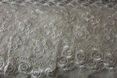 画像6: 1m!幅12.5cm豪華な薔薇柄チュールレース オフホワイト (6)