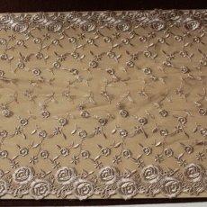 画像2: 1m!幅31.5cm両山の美しい薔薇柄チュールレース ブラウン (2)