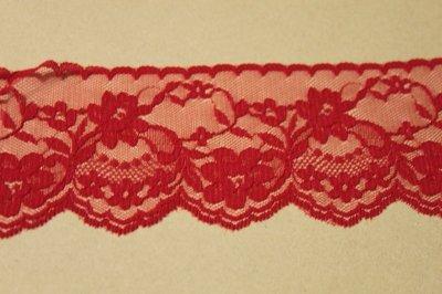 画像2: 5m!幅7.5cm綺麗な薔薇柄ラッセルレース 赤