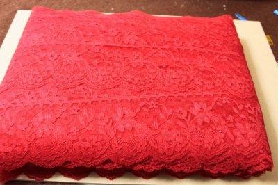 画像3: 5m!幅7.5cm綺麗な薔薇柄ラッセルレース 赤