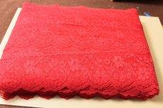 画像4: 5m!幅7.5cm綺麗な薔薇柄ラッセルレース 赤 (4)