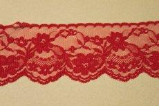 画像2: 5m!幅7.5cm綺麗な薔薇柄ラッセルレース 赤 (2)