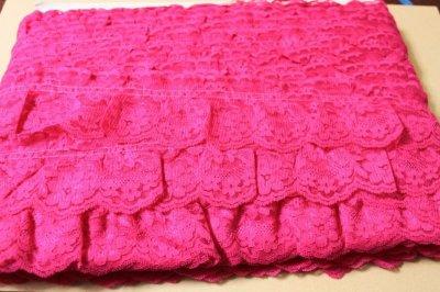 画像3: 5m!幅6.7cm綺麗な薔薇柄ラッセルフリルレース ローズピンク