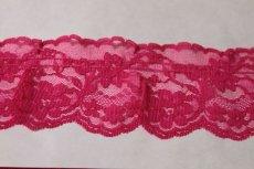画像4: 5m!幅6.7cm綺麗な薔薇柄ラッセルフリルレース ローズピンク (4)