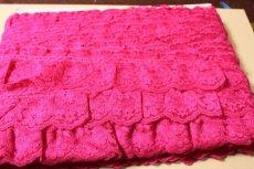 画像6: 5m!幅6.7cm綺麗な薔薇柄ラッセルフリルレース ローズピンク (6)