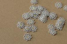 画像4: 15個セット!幅1.6cm小花のケミカルモチーフ 水色 アクセサリーレース (4)