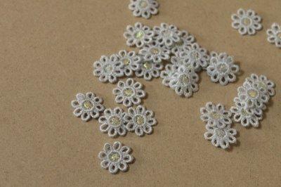 画像3: 15個セット!幅1.6cm小花のケミカルモチーフ 水色 アクセサリーレース
