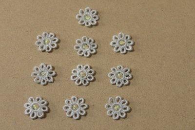 画像2: 15個セット!幅1.6cm小花のケミカルモチーフ 水色 アクセサリーレース