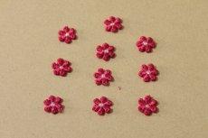 画像3: 15個セット!幅1.2cm小花のケミカルモチーフ レッド アクセサリーレース (3)
