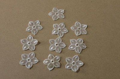 画像2: 12個セット!幅3cmお花のチュールモチーフ オフホワイト